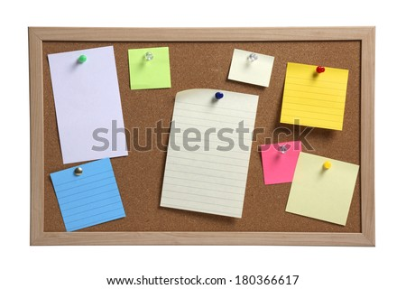 Cork board with several colorful blank notes with pins on white background