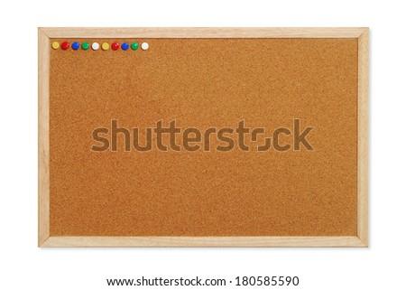 Cork board with tacks - stock photo