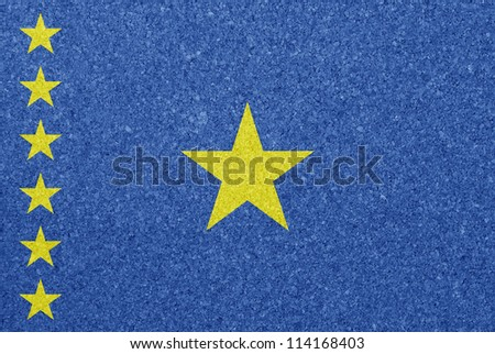 Cork board with the flag of Democratic Republic of Congo painted on it