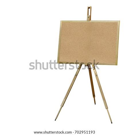 Cork Board, Wooden Easel Advertising Stand Isolated on White Background