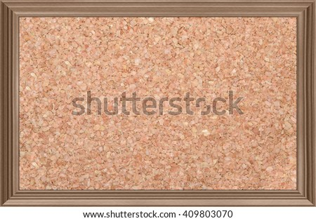 cork bulletin board in a wooden frame, isolated - stock photo