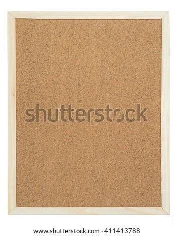 cork bulletin board on white background - stock photo
