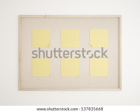 cork bulletin board with yellow notes - stock photo