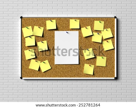 Cork desk with notes - stock photo