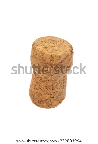 Cork for wine on  white background
