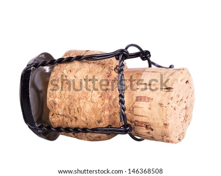 Cork from champagne bottle isolated on the white background - stock photo