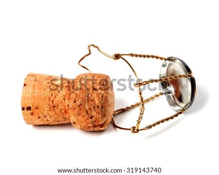 Cork from champagne wine and muselet isolated on white background - stock photo