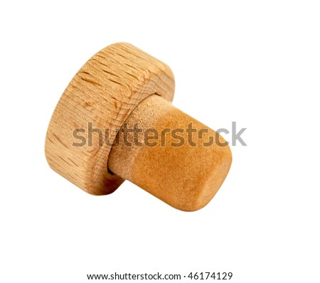 Cork from wine, isolated on a white background - stock photo