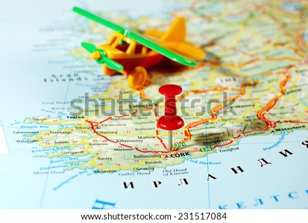Cork  Ireland  ,United Kingdom  map airplane  and  pin - Travel concept - stock photo