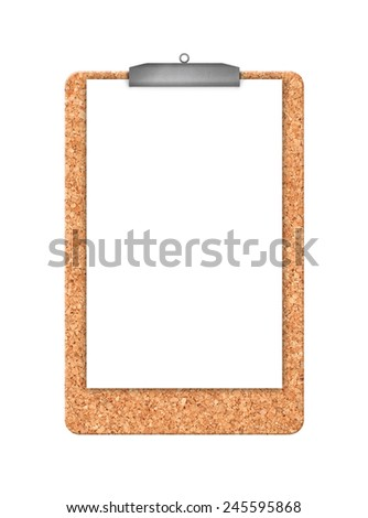 Cork memory board and piece of white blank paper with hanger as copy space isolated on white background, top view - stock photo