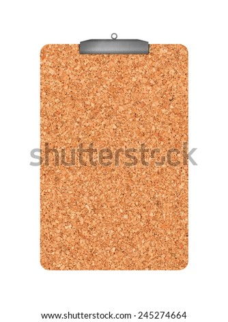 Cork memory board with hanger as copy space isolated on white background, top view - stock photo