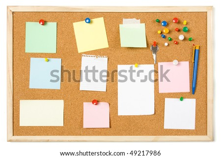 Cork notice board with blank sticky notes - stock photo