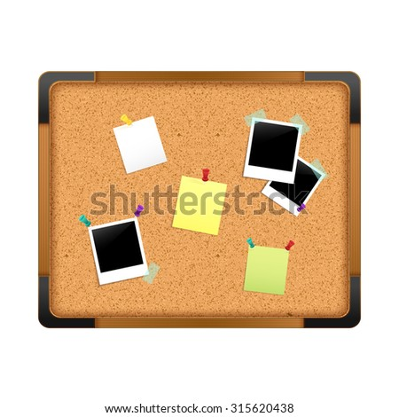 Cork notice board with paper message notes photos and pushpins isolated on white background  illustration - stock photo