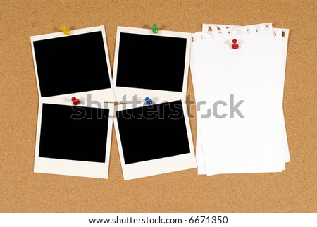 Cork notice or bulletin board with four blank polaroid style instant camera photo prints and several sheets of untidy torn notepaper. Space for copy. - stock photo