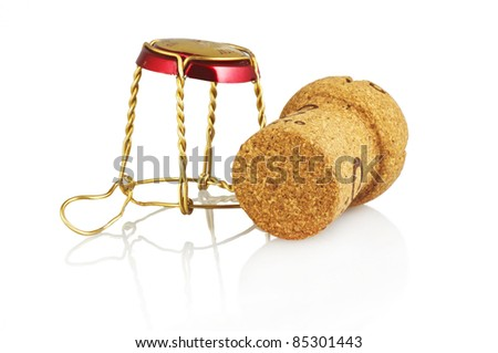 cork on the white background - stock photo