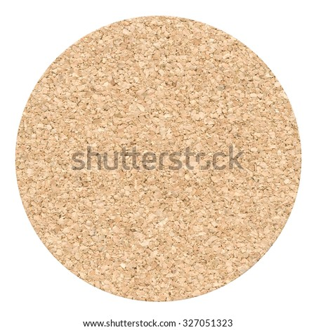 Cork table coaster isolated on a white background