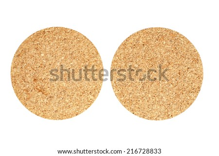 cork table coasters on white