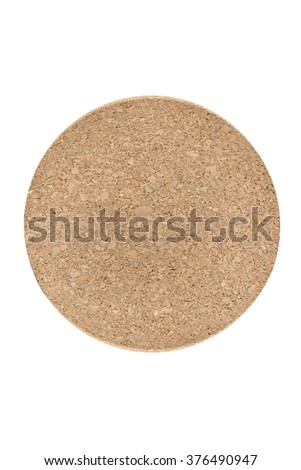 Cork Tea Coaster, Isolated, White Background