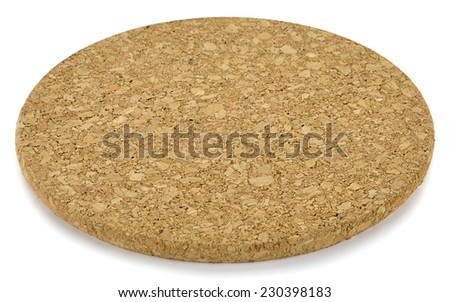 Cork trivet isolated on white background.