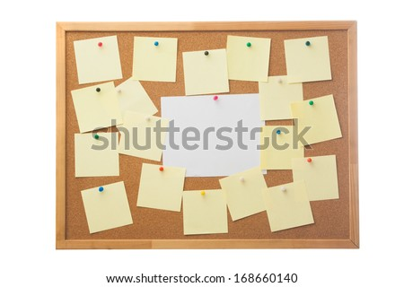 Corkboard and blank paper notes. Isolated on white. - stock photo