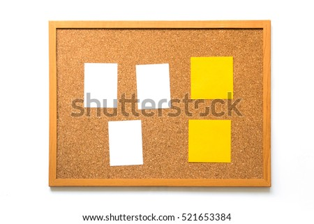 Corkboard with bank paper and yellow note on white background