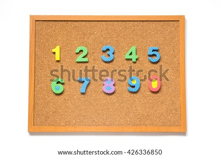 Corkboard with number 0-9  placed on white background - stock photo