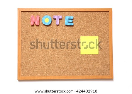 Corkboard with paper and wording note placed on white background - stock photo