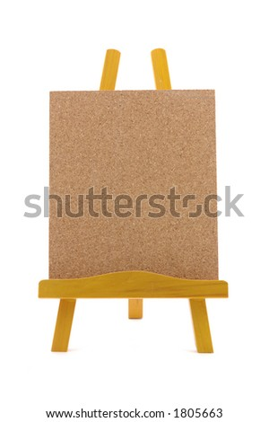 Corkboard with wooden stand in isolated white background