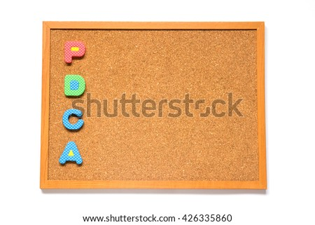 Corkboard with wording PDCA placed on white background - stock photo