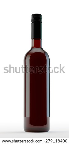 corked bottle of red wine without label