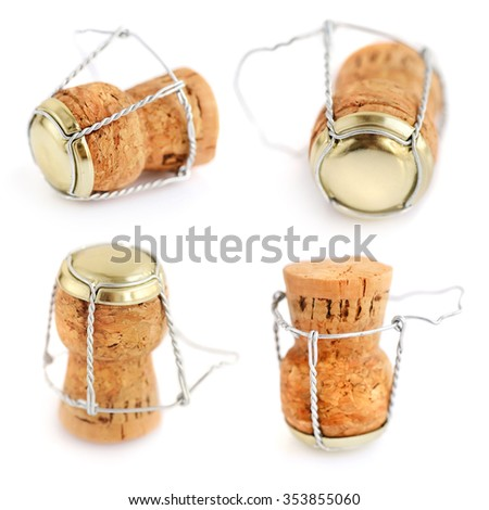 Corks from champagne bottle isolated on the white background - stock photo