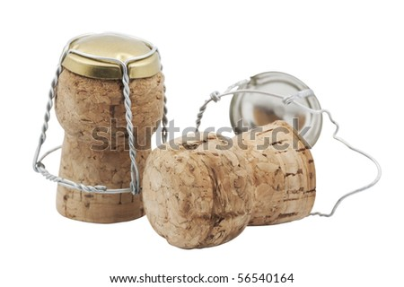 corks from champagne,isolated on white with clipping path.