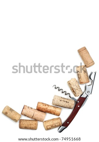 Corkscrew and cork on a white background