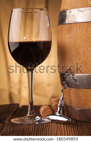 corkscrew   and wine glass