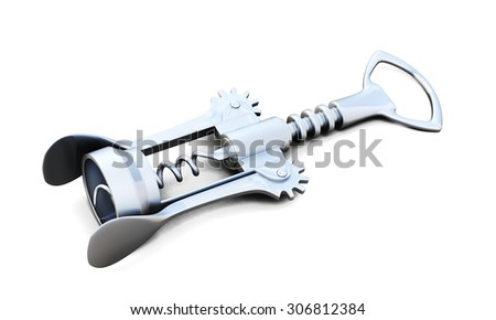 Corkscrew close-up isolated on white background. 3d render image. - stock photo