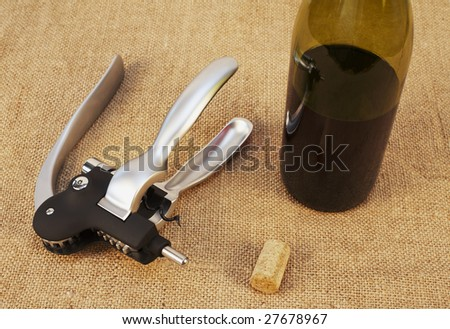 Corkscrew for opening wine bottles with wine cork