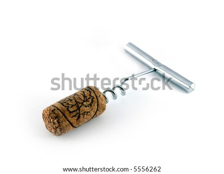 corkscrew for opening wine bottles with wine cork isolated on white