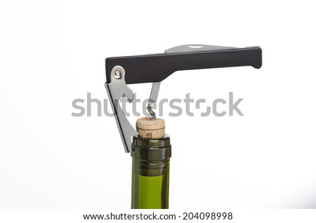 Corkscrew in application on white background