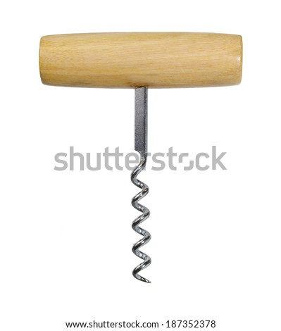 Corkscrew with wooden handle for wine isolated on a white background. - stock photo