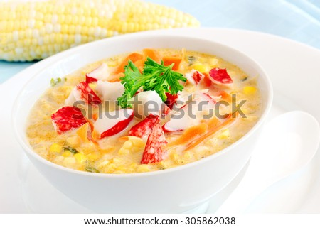 Corn and crab soup - stock photo