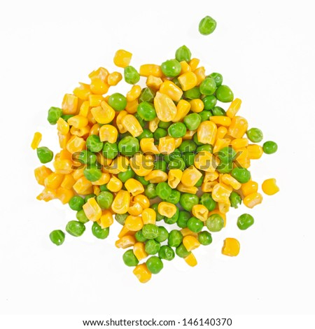 corn and peas - the mixed vegetables background - stock photo