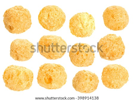 Corn balls snack isolated on white background
