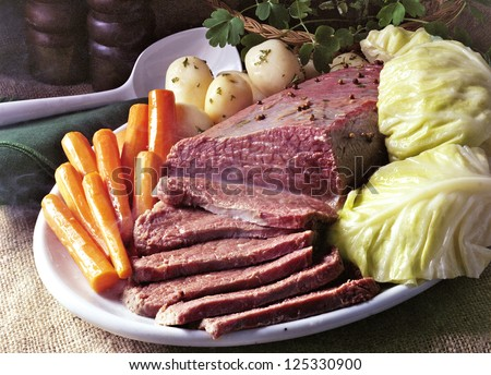 Corn Beef And Cabbage on St Patrick's Day - stock photo