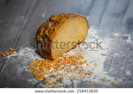 Corn bread, on the wooden table - stock photo