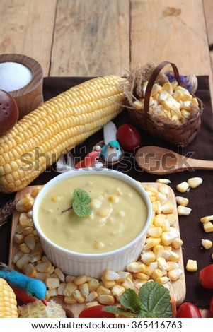 Corn cream soup and sweet corn delicious