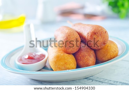 corn dogs - stock photo