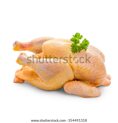 Corn-fed chicken on white background, whole close up - stock photo