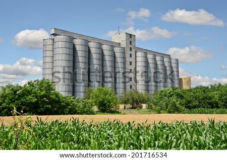 Corn Field and Silo in Europe - stock photo