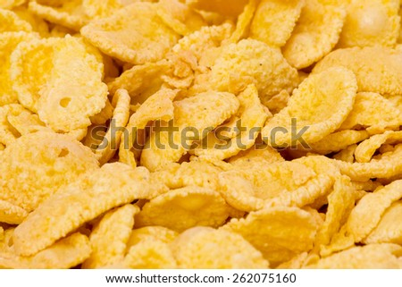 corn flakes breakfast cereal dish close up macro - stock photo