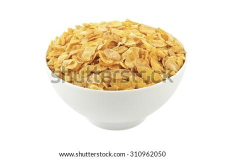 corn flakes in white bowl.  - stock photo